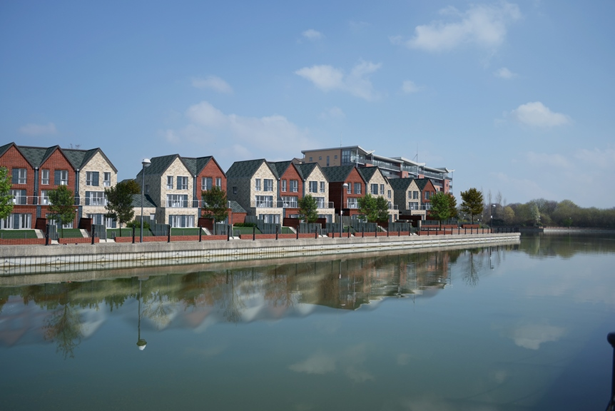 Computer generated image of lakeside homes