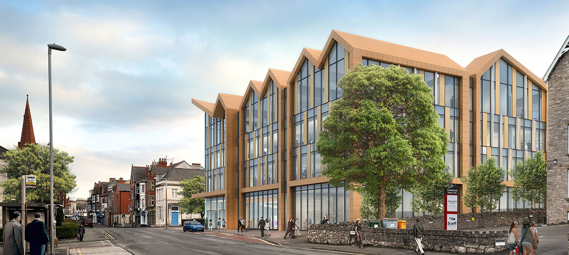 CGI of Conwy County Borough Council's proposed new office accommodation