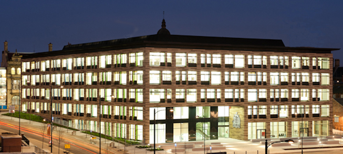 The civic offices at night, Merchant Gate, Wakefield