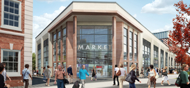 Time Square, Warrington, CGI of the new market hall